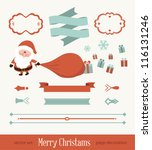 set of christmas ornaments and... | Shutterstock .eps vector #116131246