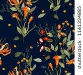 tropical vector seamless flower ... | Shutterstock .eps vector #1161334885