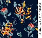 retro wild seamless flower... | Shutterstock .eps vector #1161334888