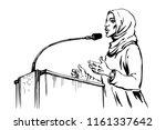 sketching arabian woman takes a ... | Shutterstock .eps vector #1161337642