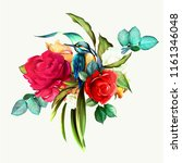 bouquet of wild flowers with... | Shutterstock .eps vector #1161346048