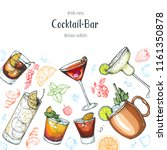 alcoholic cocktails hand drawn... | Shutterstock .eps vector #1161350878
