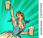 oktoberfest beer. woman... | Shutterstock .eps vector #1161357625