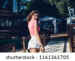 cute summer fashion portrait of ... | Shutterstock . vector #1161361705