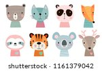 Stock vector cute animal faces hand drawn characters vector illustration 1161379042