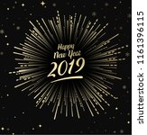 black happy 2019 new year card... | Shutterstock .eps vector #1161396115