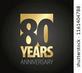 80 years anniversary gold black ... | Shutterstock .eps vector #1161404788