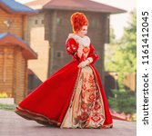 fairytale countess in castle.... | Shutterstock . vector #1161412045