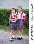 pupils of primary school. girls ... | Shutterstock . vector #1161416635