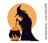 witch boiling potion in... | Shutterstock .eps vector #1161432298