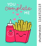 cute french fries and ketchup... | Shutterstock .eps vector #1161513115