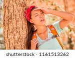 dehydrated tired hiking woman... | Shutterstock . vector #1161513262