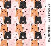 cute pigs background seamless... | Shutterstock .eps vector #1161540808