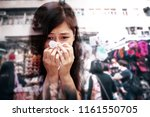 runny girl with crowded urban...   Shutterstock . vector #1161550705