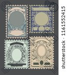 vector set of retro postage... | Shutterstock .eps vector #1161552415
