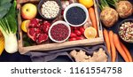 fresh vegetables and legumes in ...   Shutterstock . vector #1161554758