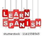 red flat line tag learn spanish | Shutterstock .eps vector #1161558565