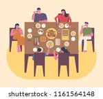 the whole family is having a... | Shutterstock .eps vector #1161564148