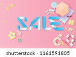 paper art and craft of sale... | Shutterstock .eps vector #1161591805