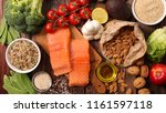 assorted vegetable  salmon and... | Shutterstock . vector #1161597118