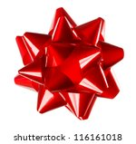 red holiday gift bow on white...   Shutterstock . vector #116161018