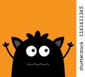 cute black silhouette monster...   Shutterstock .eps vector #1161611365