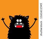 cute black silhouette monster...   Shutterstock .eps vector #1161611545