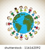 many happy children around the... | Shutterstock .eps vector #116162092
