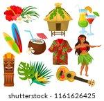 traditional symbols of hawaiian ... | Shutterstock .eps vector #1161626425
