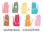 colorful graphic cats poster... | Shutterstock .eps vector #1161629182