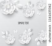 paper art flowers. vector stock. | Shutterstock .eps vector #1161635362
