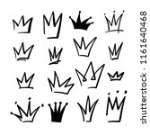 hand drawn crowns set | Shutterstock .eps vector #1161640468