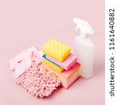 cleaning accessories  in pink... | Shutterstock . vector #1161640882