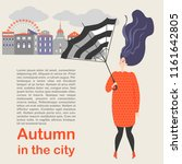 autumn in the city. beautiful... | Shutterstock .eps vector #1161642805