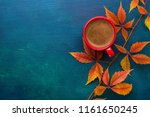 red cup of black coffee and... | Shutterstock . vector #1161650245