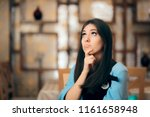 funny woman thinking hard how... | Shutterstock . vector #1161658948