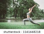 fitness asian woman doing yoga... | Shutterstock . vector #1161668218