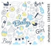 baby shower freehand doodle.... | Shutterstock .eps vector #1161674455
