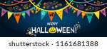 happy halloween. greeting card. ... | Shutterstock . vector #1161681388