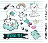 fashion patch cat unicorn on a... | Shutterstock .eps vector #1161698962