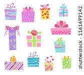 illustration flat gift boxes... | Shutterstock . vector #1161699142
