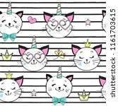 cute funny cat and unicorn... | Shutterstock .eps vector #1161703615