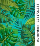 tropical vector green leaves... | Shutterstock .eps vector #1161721855
