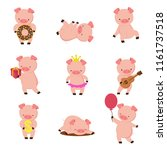 kawaii pigs. funny baby pig in... | Shutterstock .eps vector #1161737518