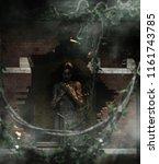death's innocent ghost woman in ... | Shutterstock . vector #1161743785