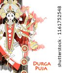 vector design of indian goddess ... | Shutterstock .eps vector #1161752548