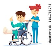 smiling man in a wheelchair... | Shutterstock .eps vector #1161755275