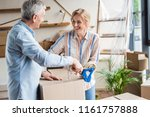 happy elderly couple packing... | Shutterstock . vector #1161757888