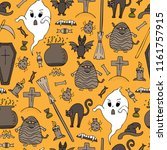 hand drawn halloween colorful...   Shutterstock .eps vector #1161757915