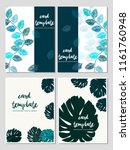 card templates tropical leaves... | Shutterstock .eps vector #1161760948